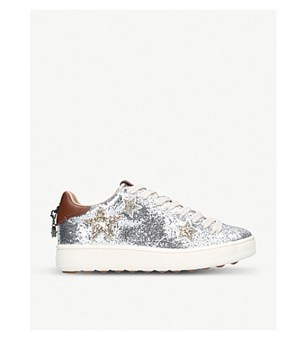 COACH Star-embellished glitter and leather trainers (Silver