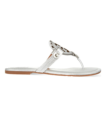 TORY BURCH Miller metallic leather flat sandals (Silver
