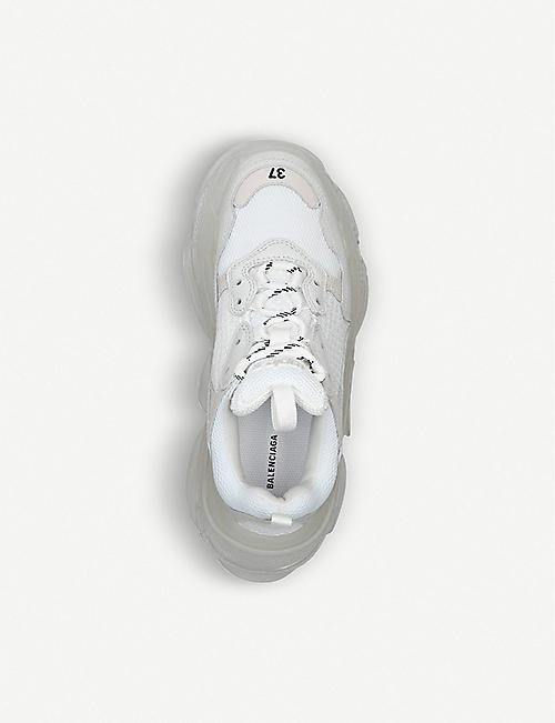 BALENCIAGA Triple S Clear Sole leather and mesh trainers