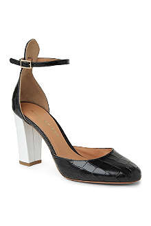 KURT GEIGER Ella croc-embossed leather sandals