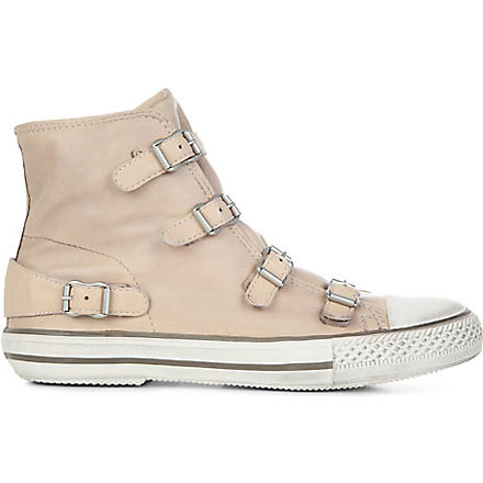 KURT GEIGER Lizzy leather high-top trainers (Nude
