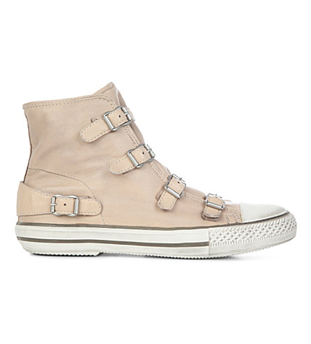 KURT GEIGER LONDON Lizzy leather high-top trainers (Nude