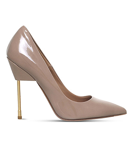 KURT GEIGER LONDON Elliot patent-leather courts (Nude