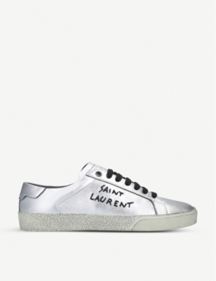 Classic metallic-leather trainers(8140940)
