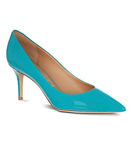 FERRAGAMO Susi patent leather courts (Turquoise