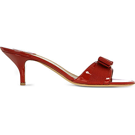FERRAGAMO Glory 1 patent leather sandals (Red/dark