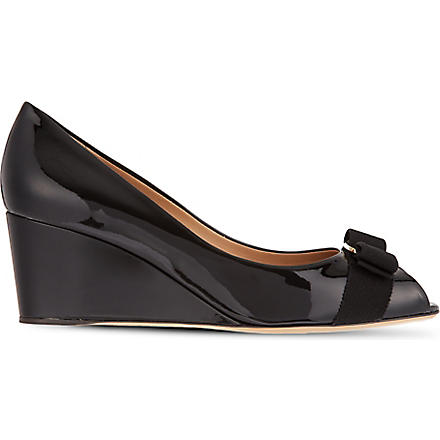 FERRAGAMO Sissi patent court wedges (Black