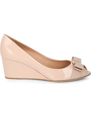 FERRAGAMO Sissi patent-leather wedges