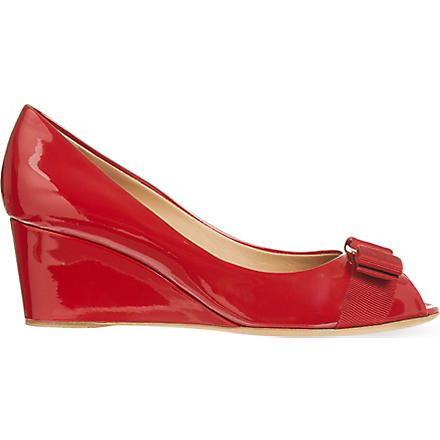 FERRAGAMO Sissi patent wedges (Red