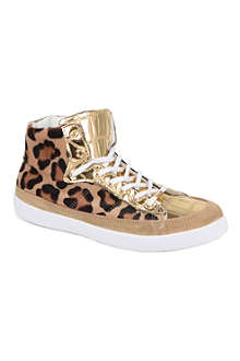 KURT GEIGER Lumiere leopard high-top trainers