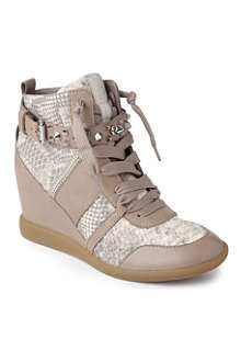 SAM EDELMAN Brogan leather wedge trainers