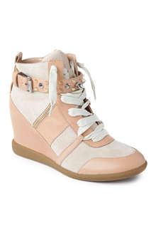 SAM EDELMAN Brogan leather and suede wedge trainers