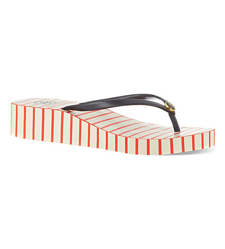 TORY BURCH Thandie wedge flip flops (Red/other