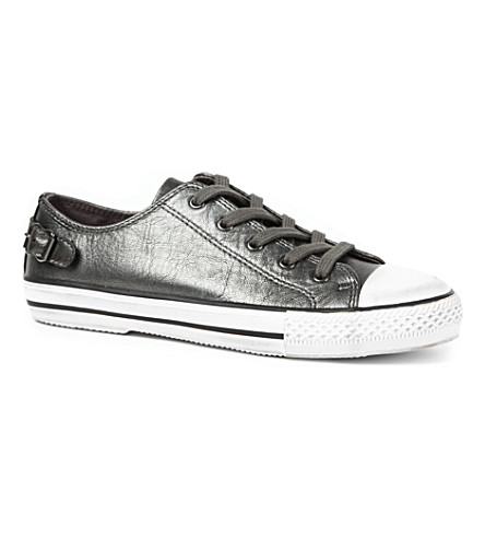 KURT GEIGER Liberty metallic leather trainers (Gunmetal