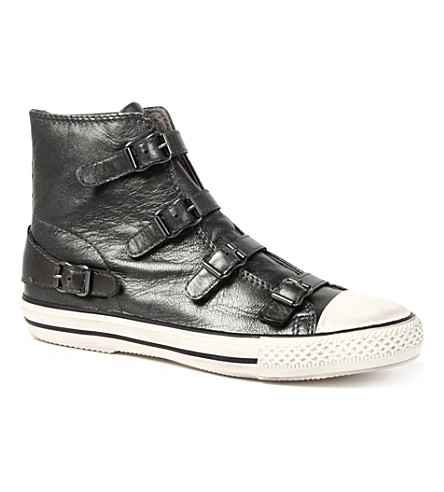 KURT GEIGER Lizzy leather high-top trainers (Gunmetal