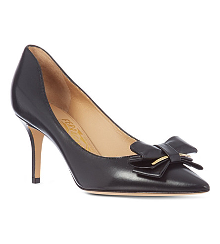 FERRAGAMO Runa 70 leather court shoes (Black