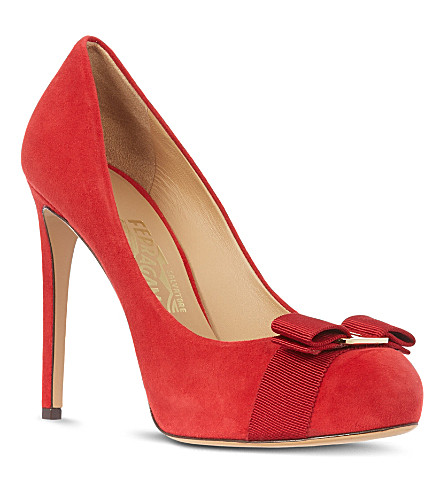 FERRAGAMO Rilly suede court shoes (Red