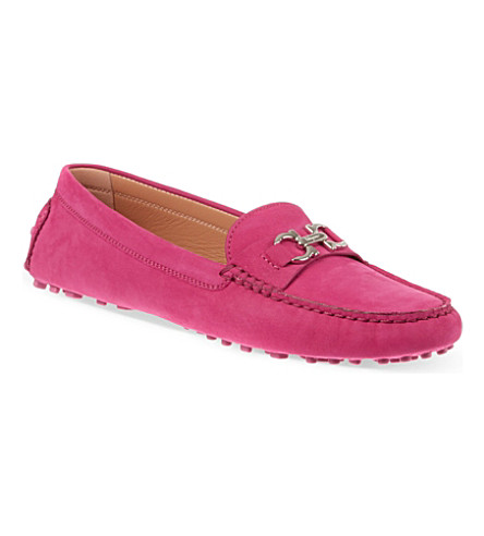 FERRAGAMO Saba suede driving shoes (Fushia