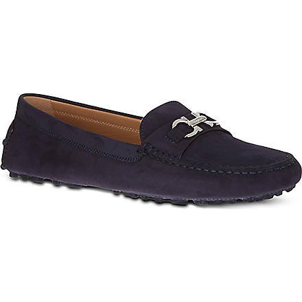 FERRAGAMO Saba suede driving shoes (Navy