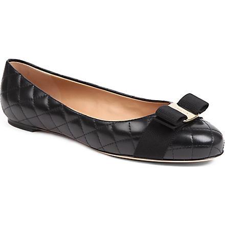 FERRAGAMO Varina quilted leather pumps (Black