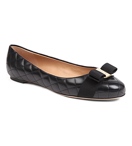 FERRAGAMO Varina quilted leather pumps (Black