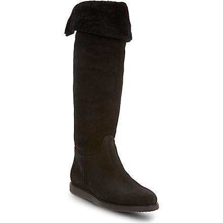 FERRAGAMO Shearling knee-high boots (Black
