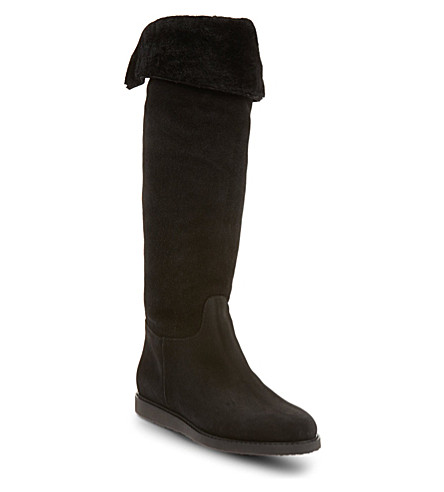 SALVATORE FERRAGAMO Shearling knee-high boots (Black