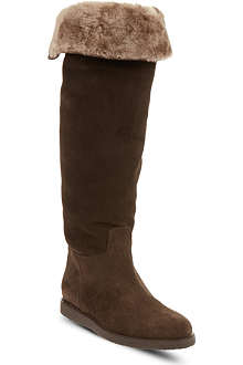 FERRAGAMO Shearling knee-high boots