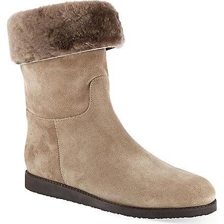 FERRAGAMO My Ease suede boots (Black