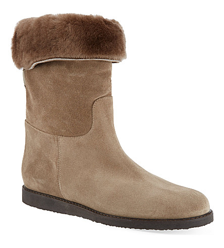 FERRAGAMO My Ease suede ankle boots (Taupe