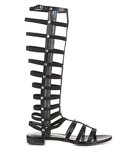 STUART WEITZMAN Knee high leather gladiator sandals (Black
