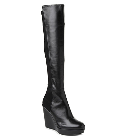 STUART WEITZMAN Demi leather knee-high boots (Black