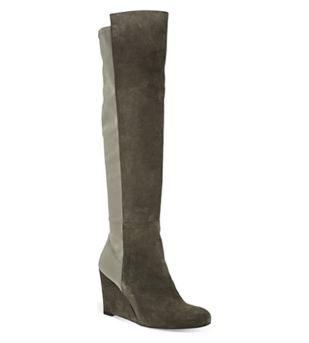 STUART WEITZMAN Demi soon suede knee-high boots (Taupe
