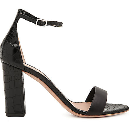 KURT GEIGER Isabella mock-croc leather sandals (Black