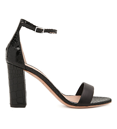 KURT GEIGER LONDON Isabella mock-croc leather sandals (Black