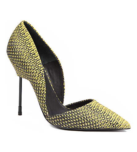 KURT GEIGER LONDON Bond snake-print court shoes (Yellow