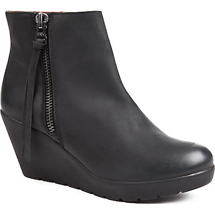 KURT GEIGER Stepney leather wedge boots (Black