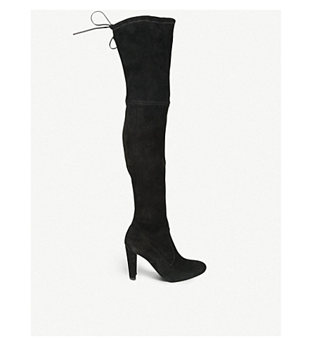 STUART WEITZMAN Highland suede over-the-knee boots (Black