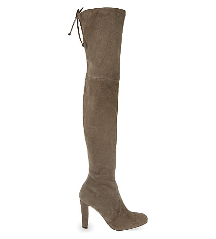 STUART WEITZMAN Highland suede heeled over-the-knee boots (Beige