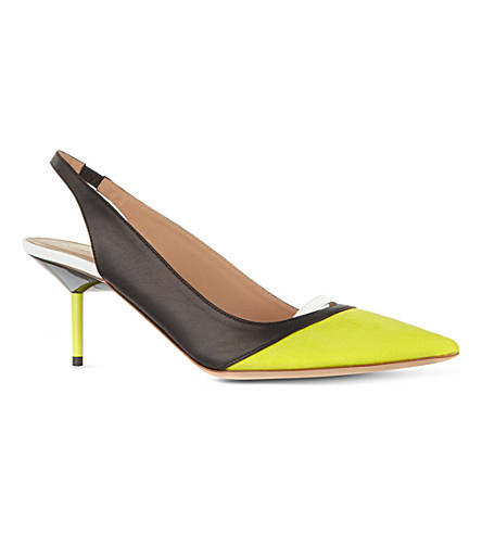 KURT GEIGER LONDON Carley leather slingbacks (Yellow