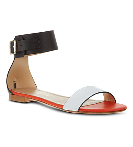 KURT GEIGER LONDON Lane leather sandals (White/comb