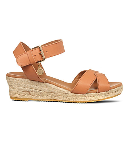 KURT GEIGER LONDON Libby leather wedge sandals (Tan