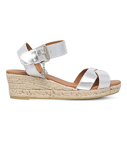 KURT GEIGER LONDON Libby metallic leather wedge sandals (Silver