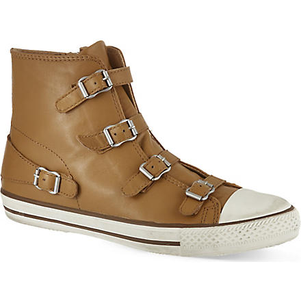 KURT GEIGER Lizzy leather high top trainers (Tan