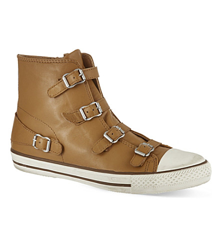 KURT GEIGER LONDON Lizzy leather high top trainers (Tan