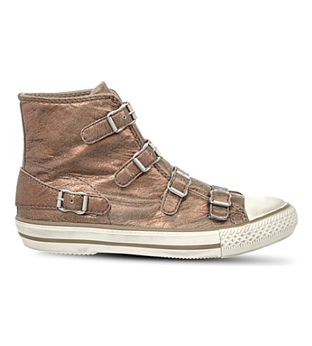 KURT GEIGER LONDON Lizzy leather high-top trainers (Bronze