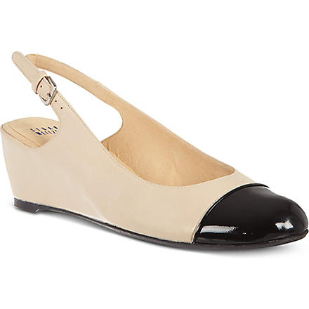 STUART WEITZMAN Tippin leather court shoes (Blk/beige
