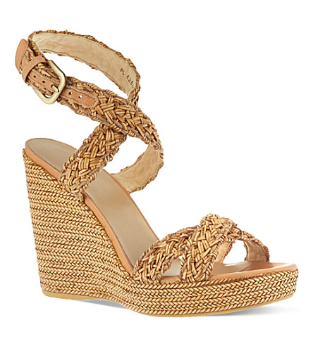 STUART WEITZMAN Hoopla woven platform wedge sandals (Camel