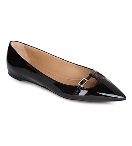 FERRAGAMO Patty patent-leather pumps (Black