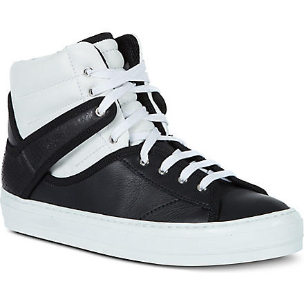 FERRAGAMO Pixy leather high-tops (Blk/white